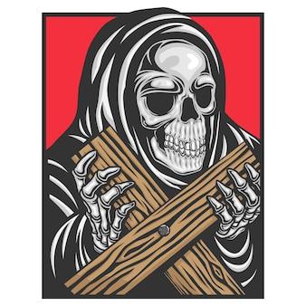 Een schedel die een gewaad draagt en een kruis vasthoudt.