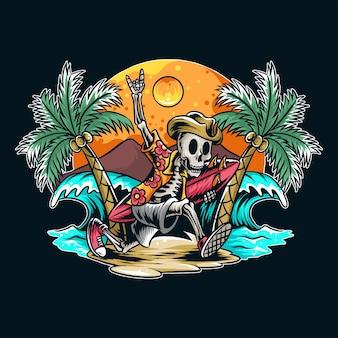 Een schedel die met een surfplank naar het strand rent