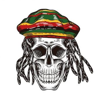 Een schedel met dreadlocks. schedel in de dop van rastaman.