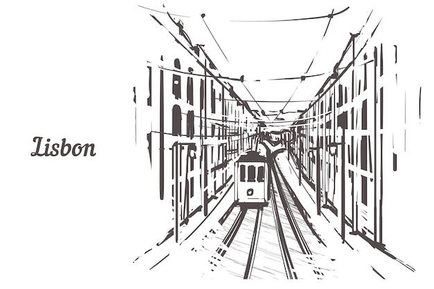 Een schets van de straten van lissabon