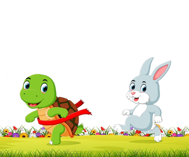 Een schildpad wint de race tegen een konijn