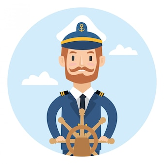 Een schipkapitein achter het wiel op witte achtergrond wordt geïsoleerd die