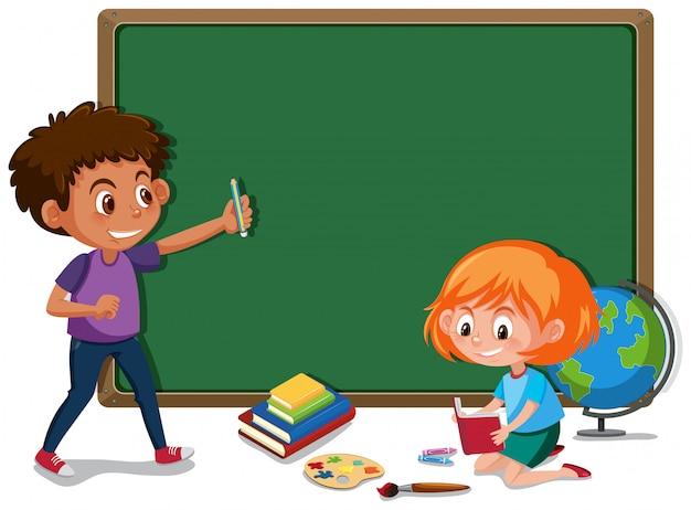 Een schoolbordbanner met studenten