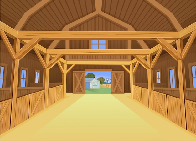 Een schuur voor boerderijdieren, kijk naar binnen. illustratie in cartoon-stijl