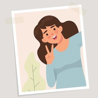 Een selfie foto van een jonge vrouw die lacht
