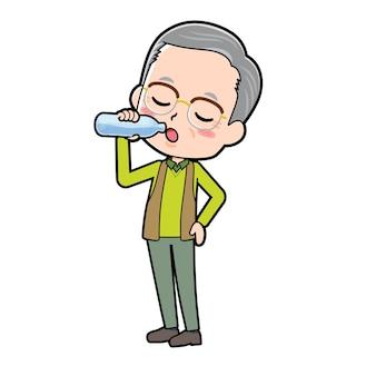 Een senior man met een gebaar van drink water. stripfiguur.