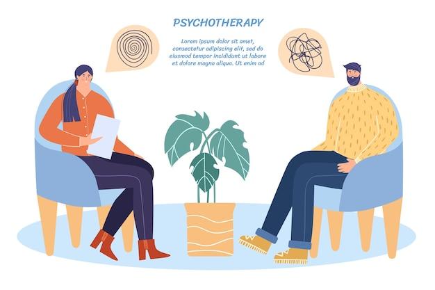 Een sessie psychotherapie. de psycholoog adviseert de patiënt.