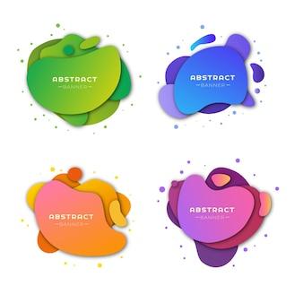 Een set abstracte reclamebanners met een afgeronde vorm. vector illustratie.