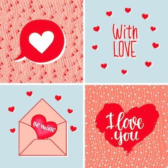Een set achtergronden met harten letters en tekst valentijnsdag bruiloft verjaardag