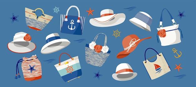 Een set afbeeldingen van handtassen en dameshoeden in een marien thema. blauwe achtergrond, geïsoleerd.