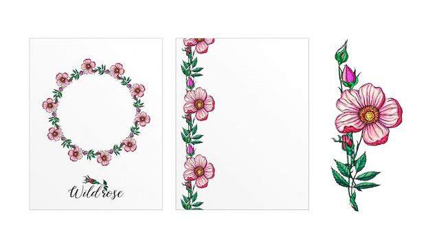 Een set ansichtkaarten met roze bloemen. roze bloemen. roos.