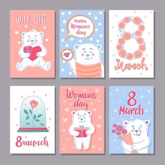 Een set ansichtkaarten posters voor 8 maart internationale vrouwendag. vector illustratie.