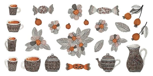 Een set aquarel kopjes theepotten snoepjes bessen en bloemen