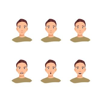 Een set avatars van een jonge man met verschillende emoties vectorillustratie