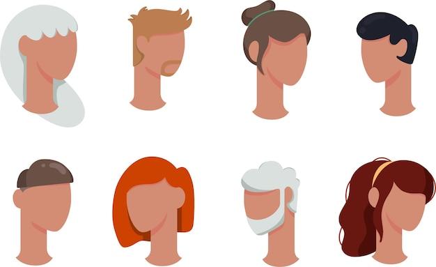 Een set avatars van mensen op een witte achtergrond met verschillende kapsels en leeftijden