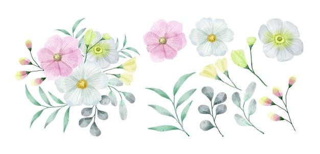 Een set bloemen beschilderd met aquarellen
