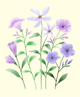 Een set bloemen beschilderd met waterverf om verschillende kaarten en wenskaarten te begeleiden