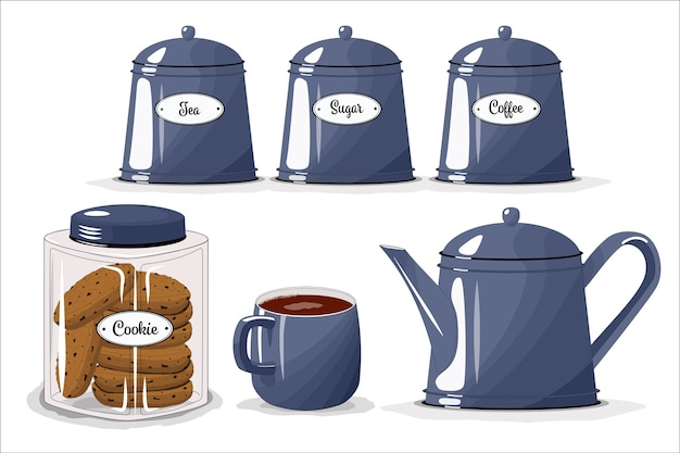 Een set borden voor de keuken. beker, waterkoker, potten voor suiker, thee, koffie. een potje koekjes.