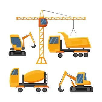 Een set bouwmachines bouwtransport vrachtwagen een graafmachine betonmixer