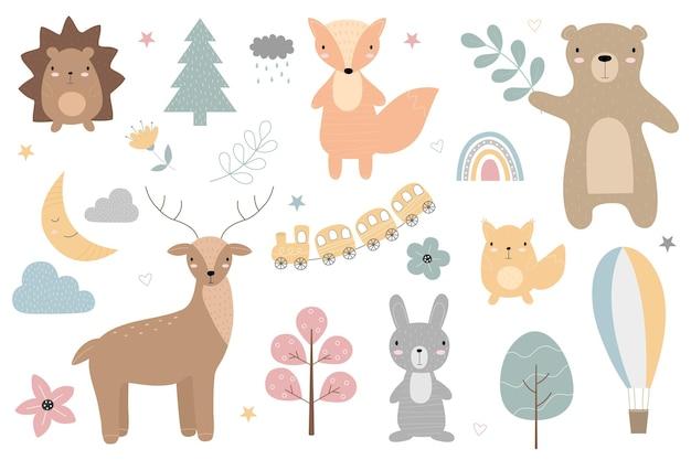 Een set cartoon schattige dieren