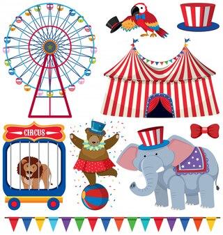Een set circusvoorstellingen