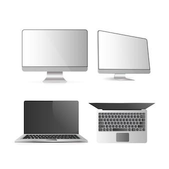 Een set computers. desktop pc open laptop. geïsoleerd op een witte achtergrond. realistische vector.