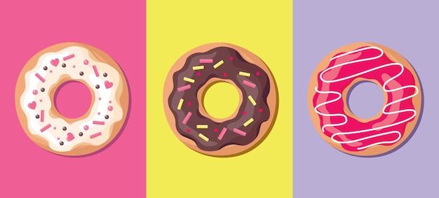 Een set donuts in glazuur. bovenaanzicht.