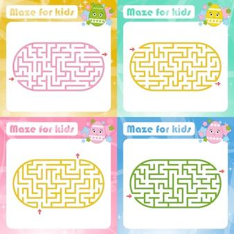 Een set doolhoven. spel voor kinderen. puzzel voor kinderen. maze raadsel.