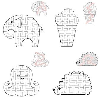 Een set doolhoven. spel voor kinderen. puzzel voor kinderen.