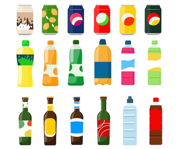 Een set drankjes in blikjes, plastic en glazen flessen met bier, sap, frisdrank, limonade.