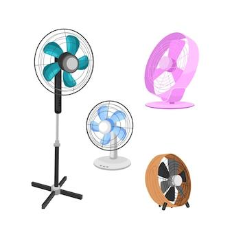 Een set elektrische ventilatoren van verschillende typen huishoudelijke apparaten voor luchtkoeling vectorillustratie
