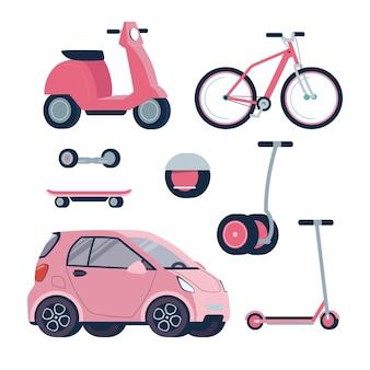 Een set elektrische voertuigen in roze