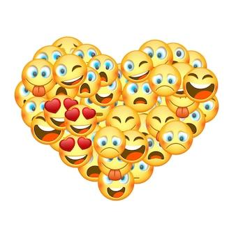 Een set emoticons in de vorm van een hart. vector illustratie