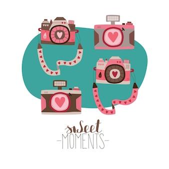 Een set enkele afbeeldingen voor valentijnsdag liefdescamera met harten