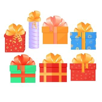 Een set feestelijke dozen met geschenken vastgebonden met satijnen strikken.