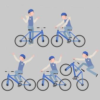 Een set fietsers in een gestileerde stijl