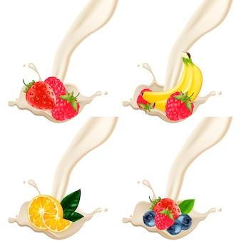 Een set fruit met melk of yoghurt