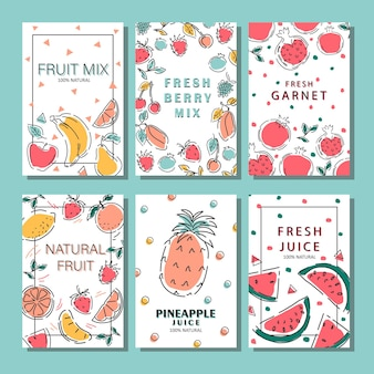 Een set fruitposters. eco-voedselproducten. appel, banaan, bosbes, kers, mango, meloen, ananas, kiwi. vector illustratie.