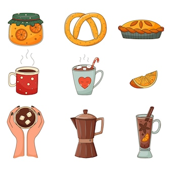 Een set gekleurde doodles. warme dranken, jam, pretzel, koffie, glühwein. herfst decoratieve elementen