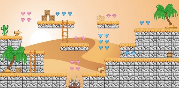 Een set gelaagde achtergrond die wordt gebruikt voor het maken van mobiele games