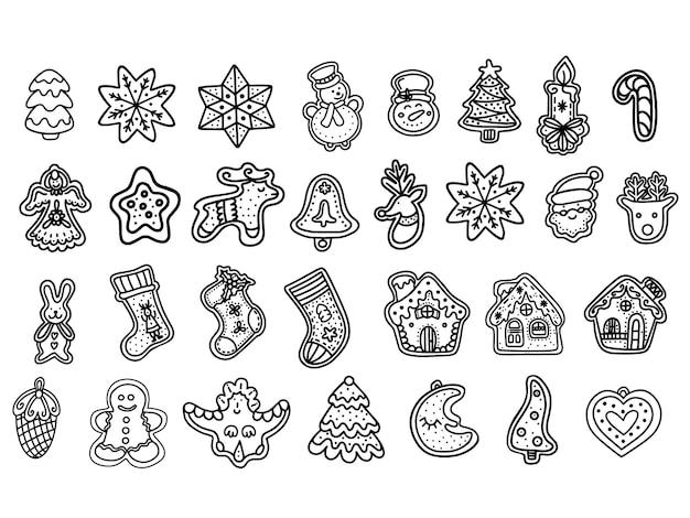 Een set gemberkoekjes. kerst snoep. vectorillustratie in de doodle-stijl Premium Vector