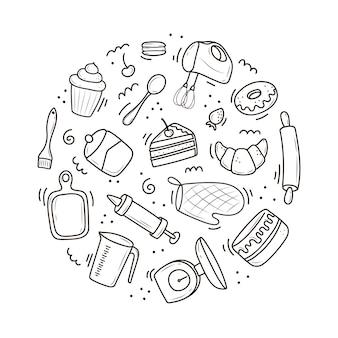 Een set gereedschappen voor bakken en koken, een mixer, een cake, een lepel, een cupcake, een schaal. vectorillustratie in de doodle-stijl. een schets met de hand getekend op een witte achtergrond.