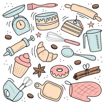 Een set gereedschappen voor bakken en koken, een mixer, een cake, een lepel, een cupcake, een weegschaal. illustratie in de doodle-stijl. een schets met de hand getekend