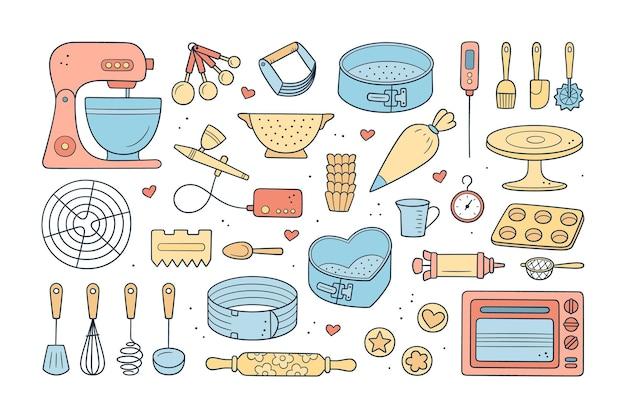 Een set gereedschappen voor het maken van taarten, koekjes en gebak. doodle zoetwaren tools - planetaire stationaire deegmixer, bakpannen en spuitzak. hand getekend