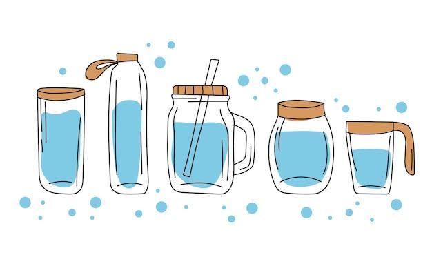 Een set glazen containers en waterflessen. handgetekende stijl