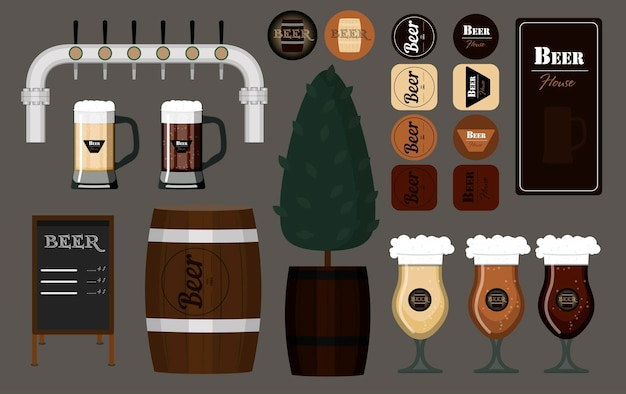 Een set glazen mokken en vaten bier vectorillustratie van bierviltjes