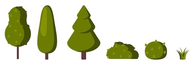 Een set groene bomen en struiken in een vlakke stijl