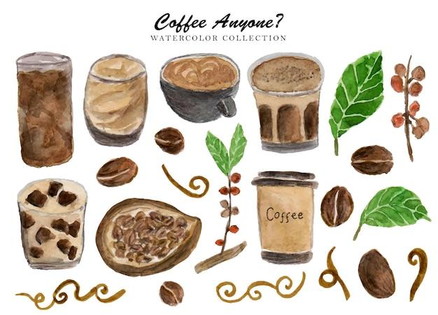 Een set handgeschilderde aquarel met koffiethema