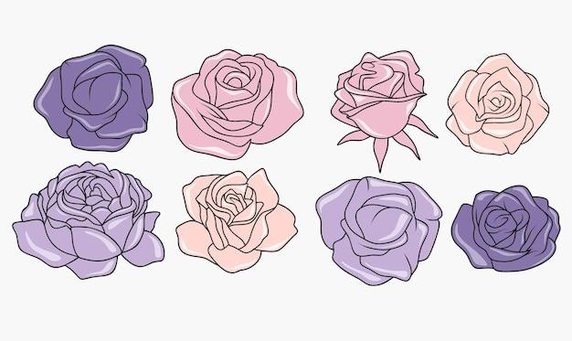 Een set handgetekende prachtige bloemen