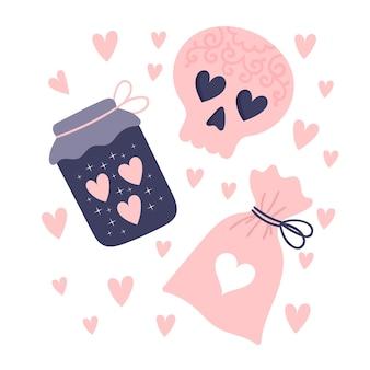 Een set hekserijelementen. attributen voor een liefdesbetovering. drankflesjes, magisch poeder, verliefde schedel. illustratie geïsoleerd op een witte achtergrond.